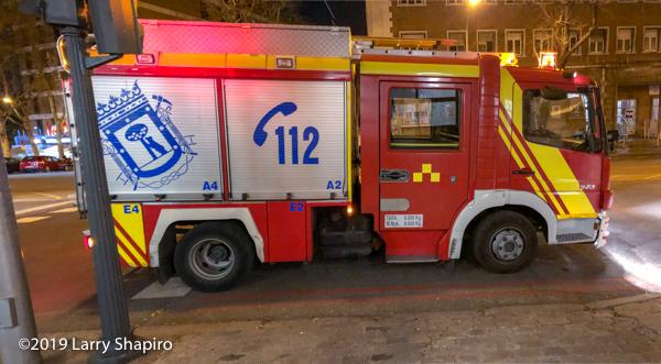 Madrid bombers fire engine