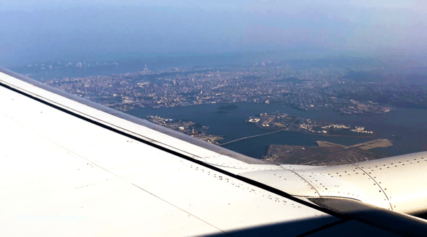 LaGuardia Airport and Rikers Island seen from an airplane