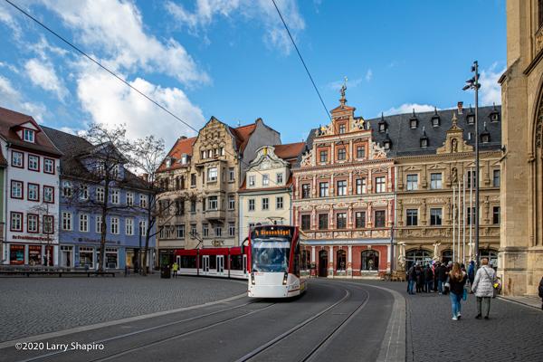public tram in Erfurt Germany