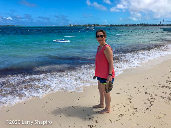 Dorothy Shapiro on the beach in Nassau