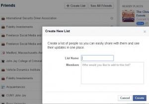 friends list on Facebook
