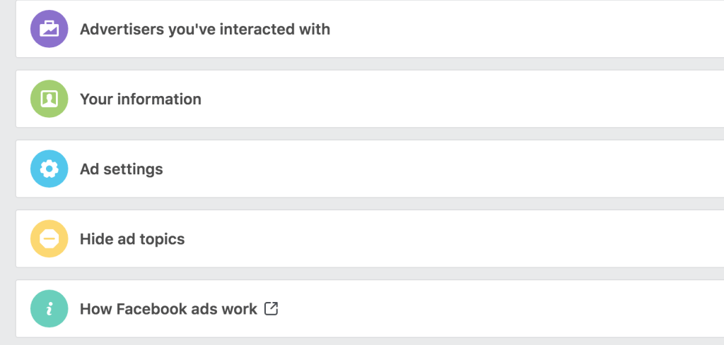 Facebook advertisers you've interacted with
