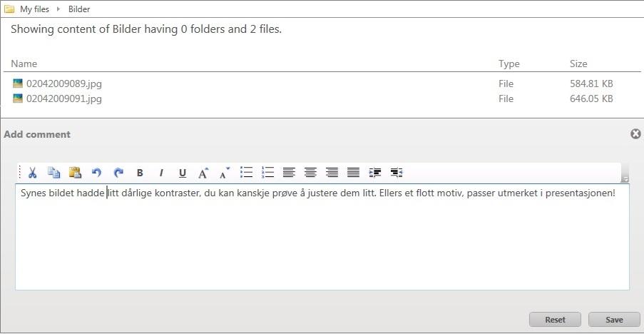 Enkelt å kommentere på filer
