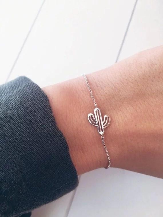 bracelet argent cactus