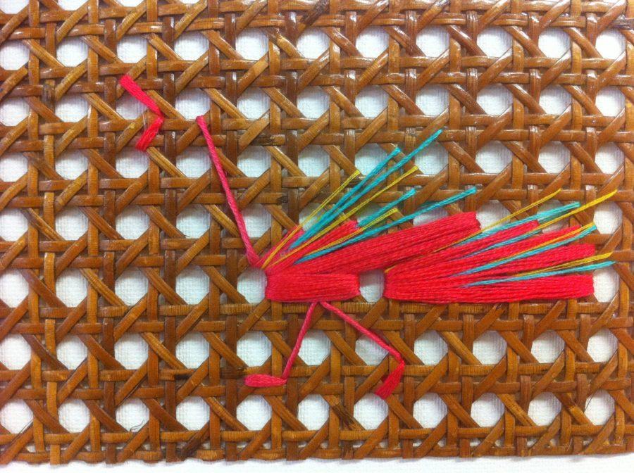 cannage brodé lin et coton