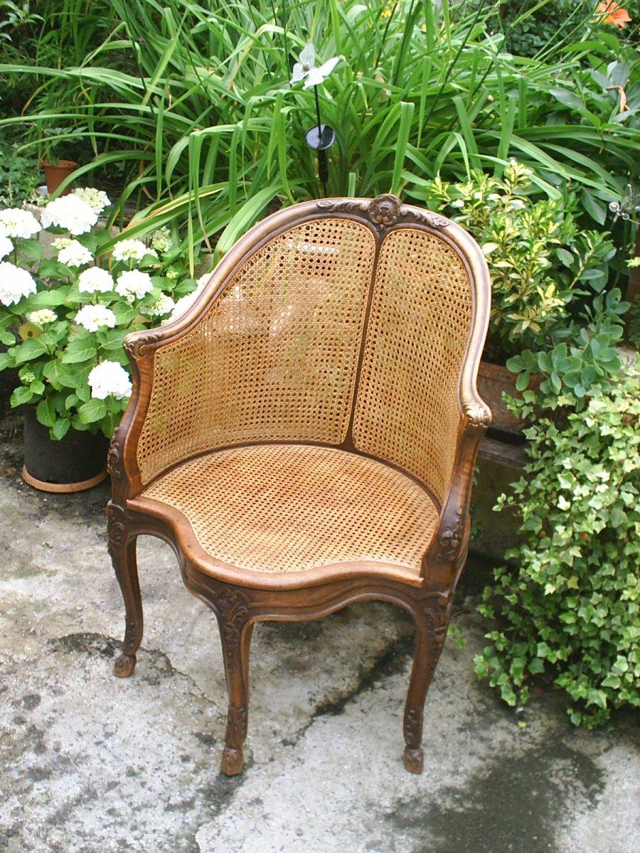 fauteuil de bureau recanné en écorce de rotin teintée