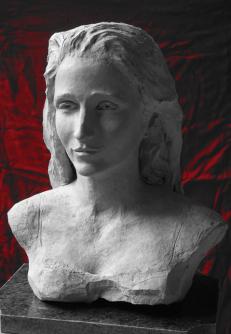 Marianne - buste terre cuite sur marbre