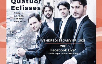 Toulouse Guitare propose un concert en ligne » Quatuor Éclisses» le vendredi 29 janvier à 20h