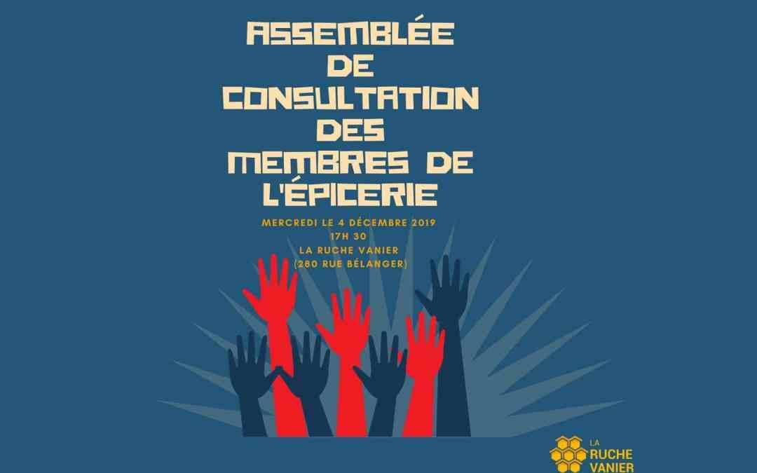 Assemblée de consultation des membres de l'épicerie communautaire « Le Petit marché »