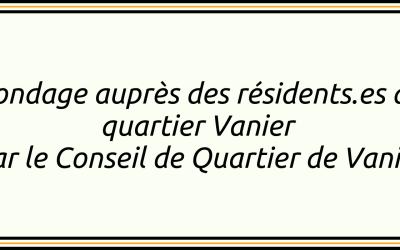 Sondage auprès des résidents.es du quartier Vanier