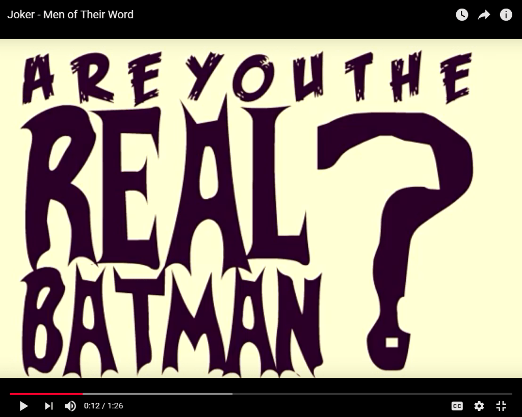 Kinetic Typography video animating a conversation from The Dark Knight [2008] between The Joker and Brian Douglass, Batman impersonator