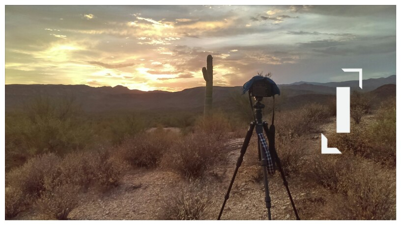 Cellphone image of SLR Camera on a tripod with an ankle weight on top to reduce vibrations, watching the sun set through a partly cloudy sky with a single armed saguaro in the foreground