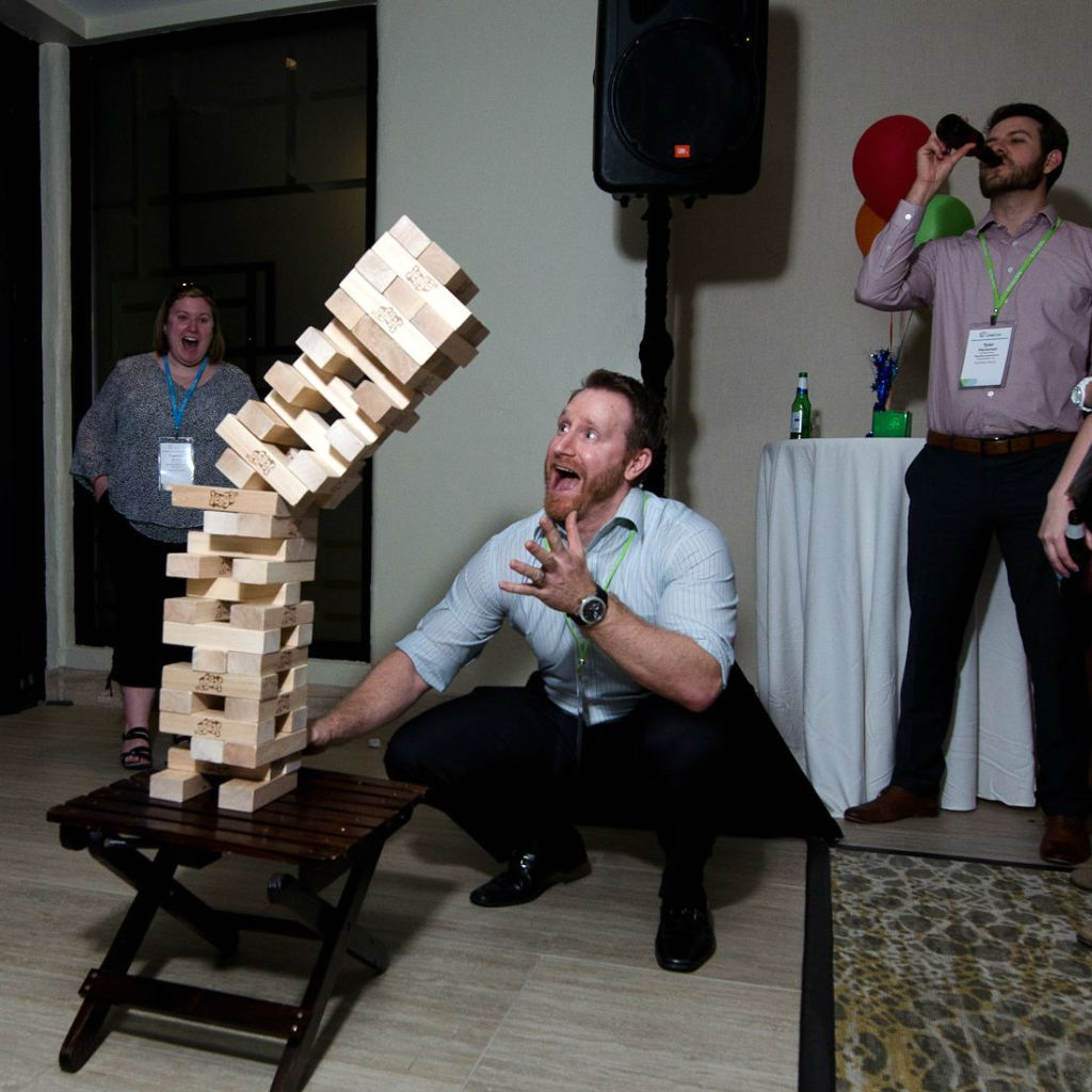 Yard Jenga tower falls at corporate party event