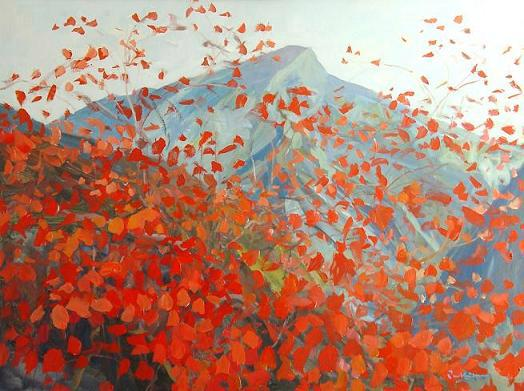 Red Leaves on the Mountain, Modern Painting by Singapore artist