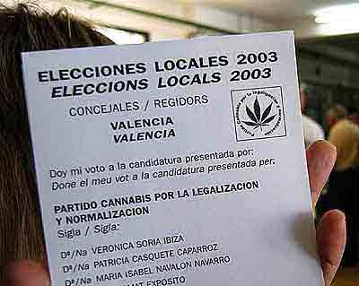 Elecciones locales 2003 Valencia - Partido Cannabis por la Legalización y Normalización (PCLYN) - Fuente elmundo.es