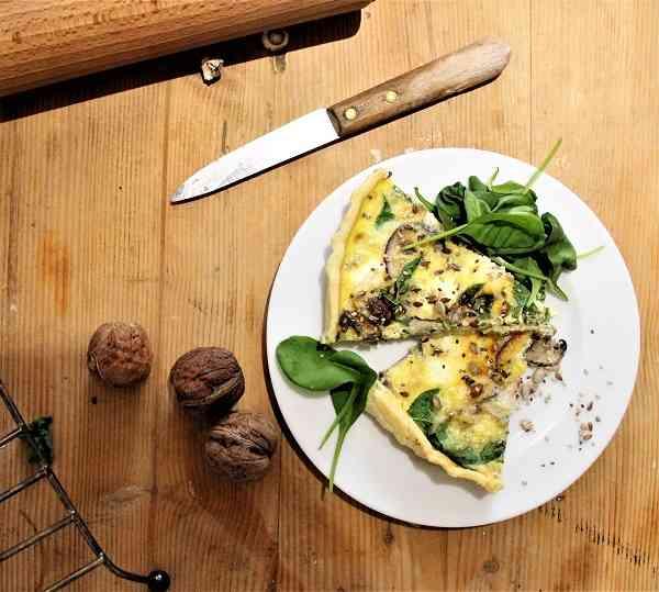 recette quiche rapide aux épinards champignons et chevre