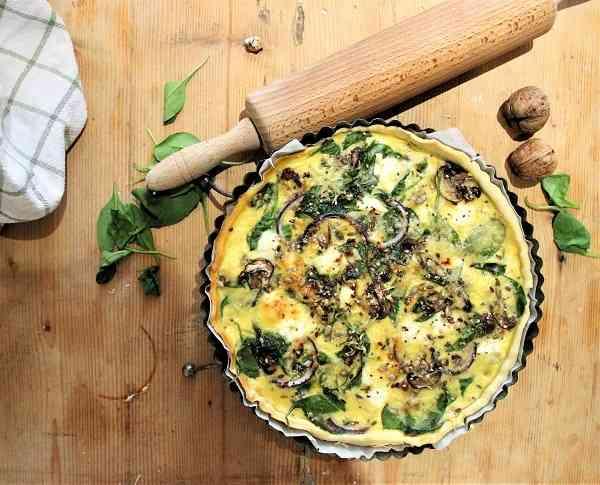 recette rapide quiche maison champignons epinards chevre