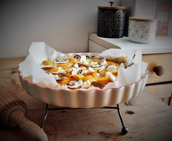recette facile d'une quiche au potimarron thon et champignons