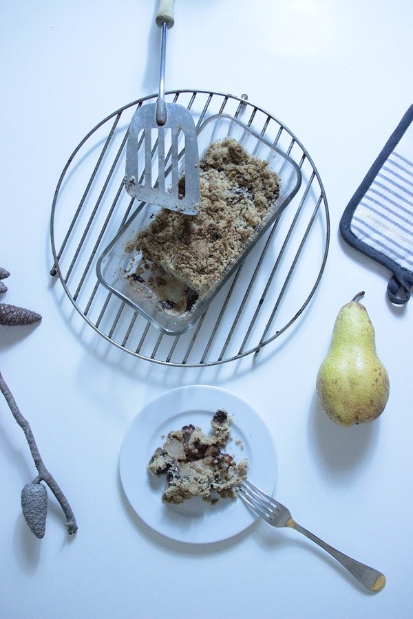 recette facile et rapide de saison crumble poires chocolat noix de pecan
