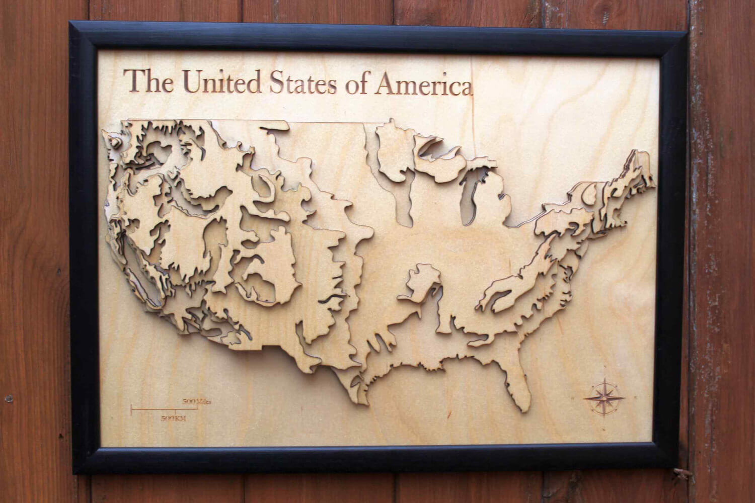 3D USA Map Wooden Topographical Map United