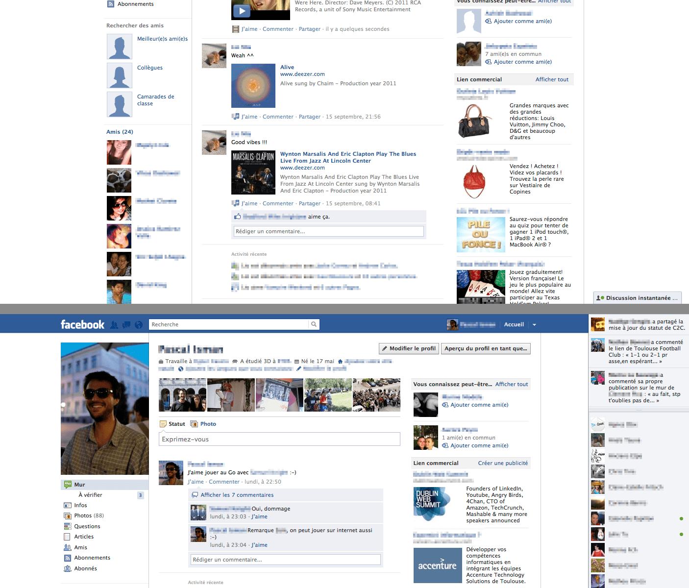 Comparatif entre deux version de facebook