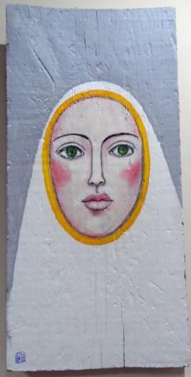 AUTOR: Ángel Álvarez de Sotomayor TÍTULO: Virgen TÉCNICA: Óleo sobre madera DIMENSIONES: 46x22 cm PRECIO: 80 € Íntegramente donado a Ayuda en Acción
