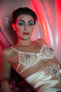 Rosie von Boschan interview with erotic marketing agency Lascivious Marketing, model wearing white jewelled bra [credit: Rosie von Boschan]