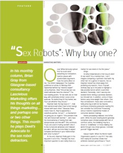 Why buy a sex robot? Brian Gray from erotic marketing agency Lascivious Marketing marketing column in EAN erotic retail magazine Nov 2017 text (c) Lascivious Marketing, image design (c) EAN