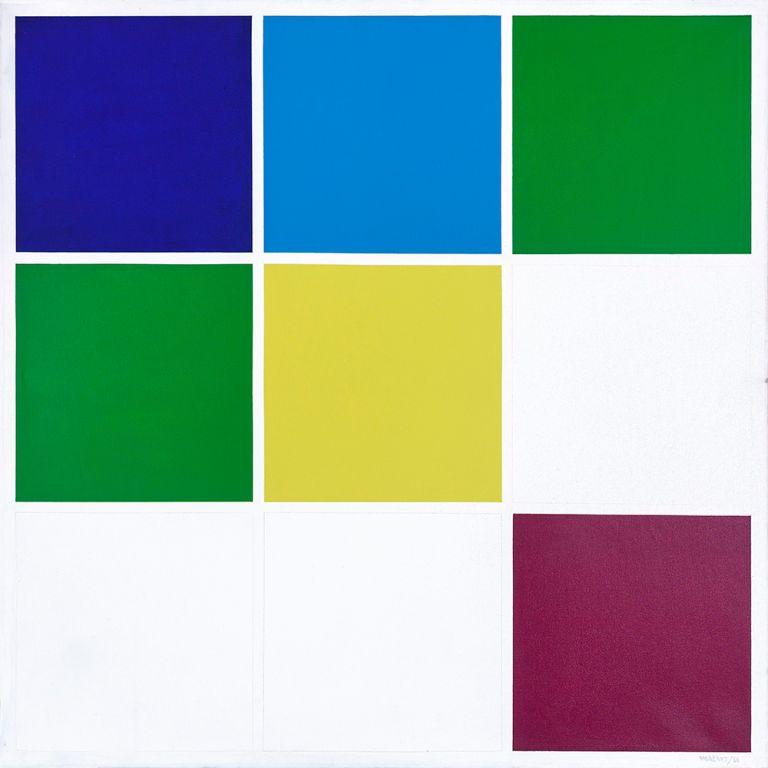 1.- © Waldo Balart, MÓDULO 3✕3 , 2.3.4.4.5.8 DEL DESARROLLO CROMÁTICO 2.3.4.5.8, 1988 Serie DESARROLLO CROMÁTICO DEL CEL Acrílico sobre lienzo. 130 x 130 cm
