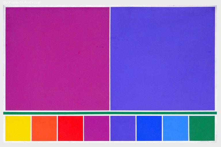 3.- © Waldo Balart, PROPOSICIÓN, DEL VERDE AL AMARILLO, CUADRADOS VIOLETA Y MAGENTA, 1985 Serie ESTRUCTURA DE LUZ Acrílico sobre tabla. 79 x 123 cm