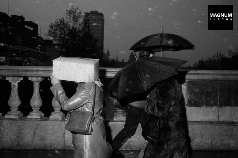 "Martin Parr. IRELAND. Dublin. O'Connell Bridge. From 'Bad Weather"". October. 1981."