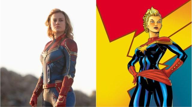Capitana Marvel con su traje en el cómic y en la película