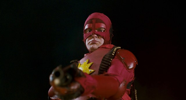 Crimson Bolt with a shotgun.