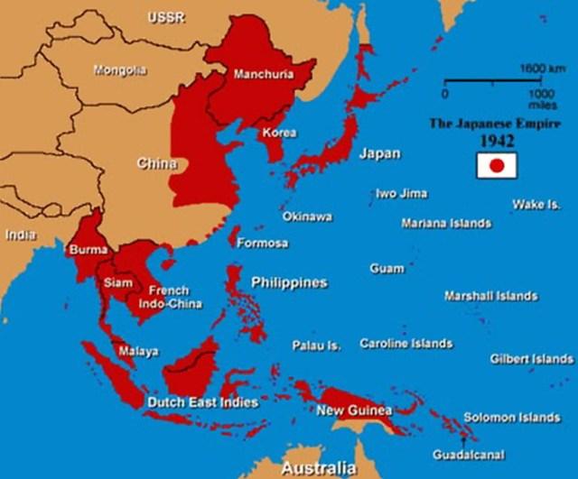 Mapa el Imperio Japonés en 1942. La ocupación japonesa de Corea.
