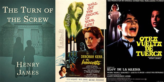 Portada The Turn of the Screw de Henry James. Poster de Suspense de Jack Clayton y 'Otra vuelta de tuerca', de Eloy de la Iglesia.