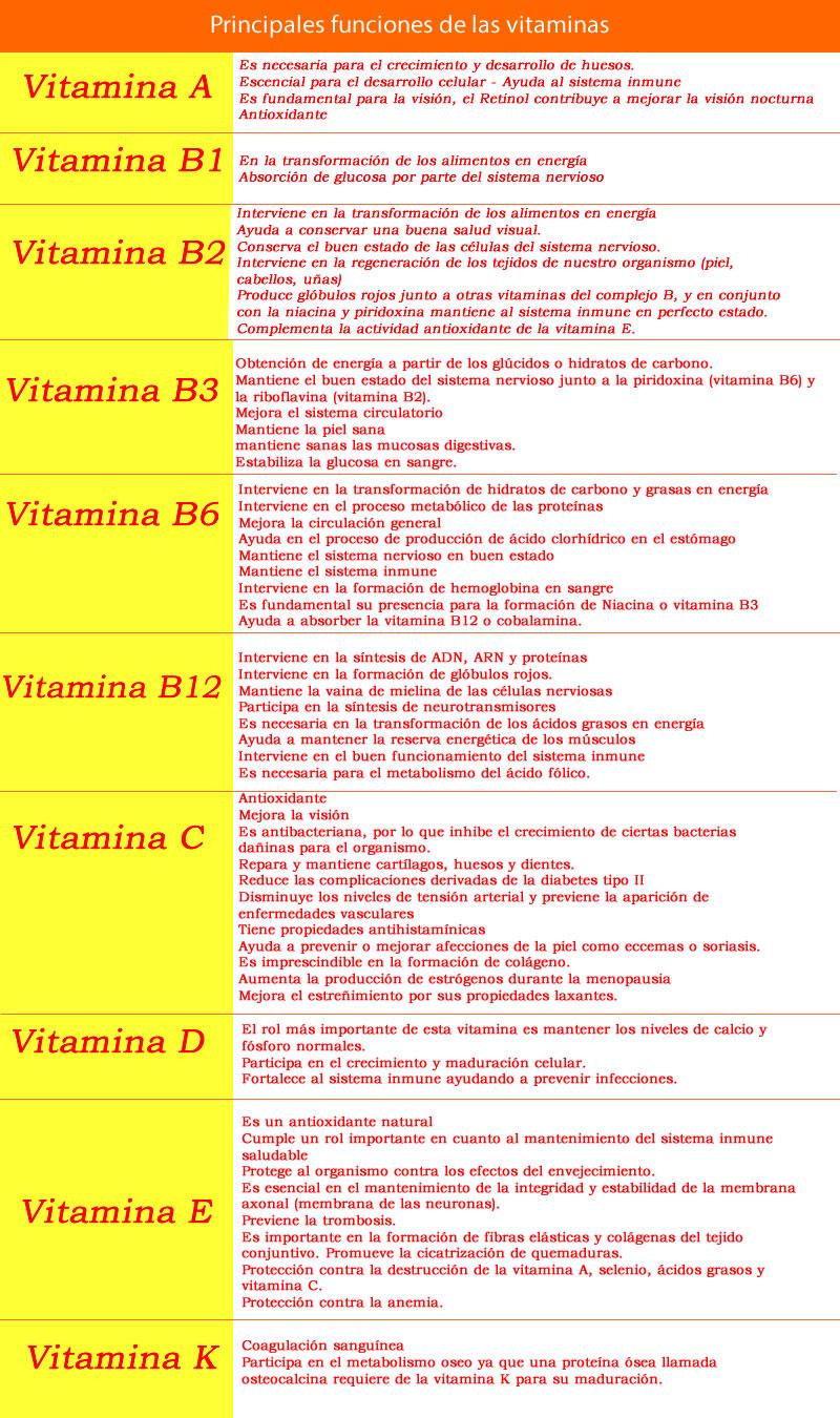 pricipales funciones de las vitaminas