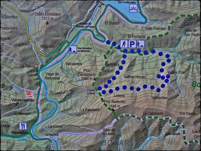 Mapa con los senderos propuestos para Pardomino