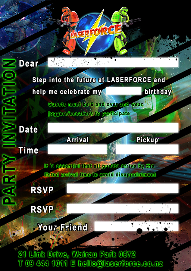 Next-Gen Lasertag Birthday Party Invitation
