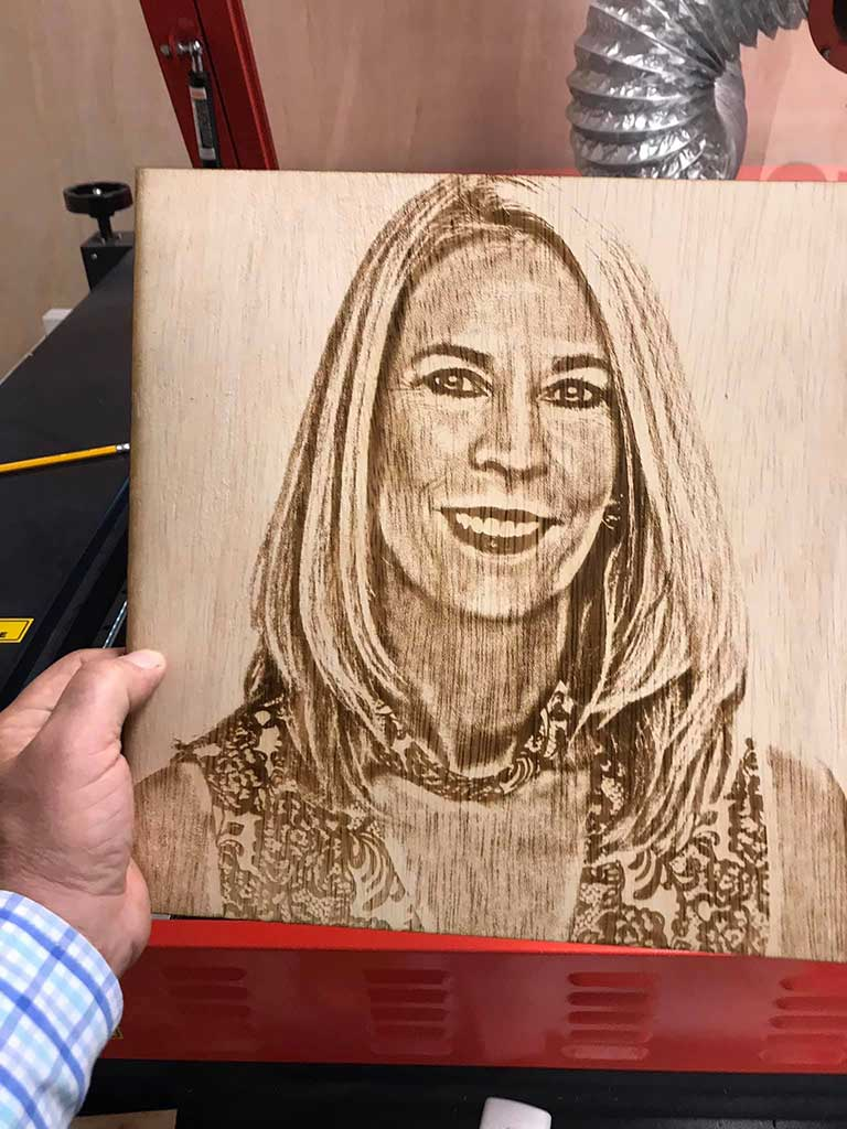 Laser engraved portrait Wood Laser Mafia Vero Beach FL