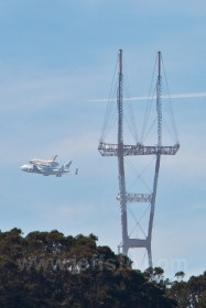 The Space Shuttle Endeavour on her final voyage. The shuttle flew directly over my house (in LA) just an hour or so after this picture was taken.