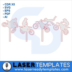 Motocross silhouette cake toppers laser ready