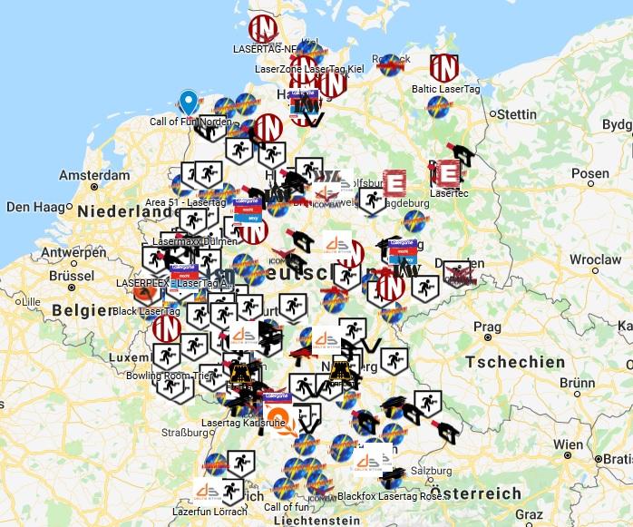 Arenen in Deutschland Lasertagfans
