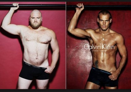 """real man"" and over all sexy beast on the left scaled to comparison to equally sexy actual Calvin Klein model"
