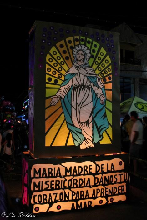Quimbaya, Quindío, Colombia, noche de velas y faroles, 7 de diciembre de 2015, virgen María