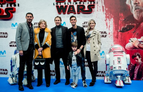 MADRID, SPAIN - DECEMBER 12: Fernando Hierro, Julen Lopetegui and Alvaro Arbeloa during 'Star Wars: Los Ultimos Jedi' Madrid Premiere on December 12, 2017 in Madrid, Spain. (Photo by Samuel de Roman/Getty Images For Disney)