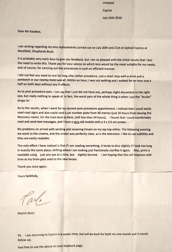 Px feedback letter
