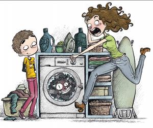 El pobre gato Dodoto en la lavadora