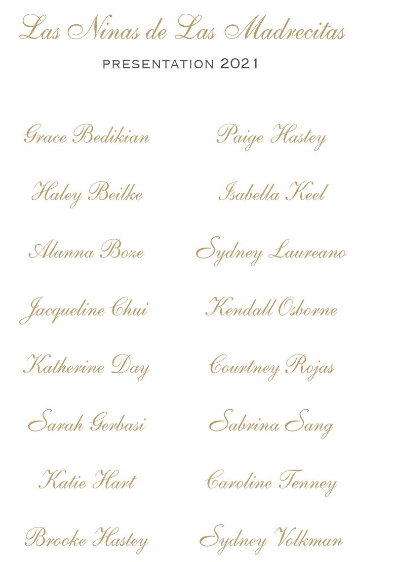 2021 Evergreen Ball invitation presentation list