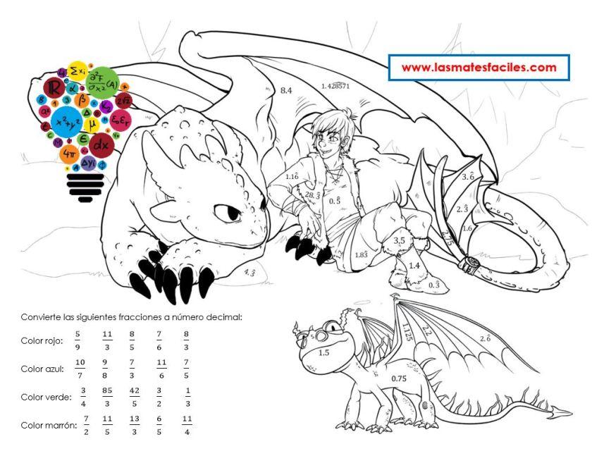 colorea al dragón de las fracciones