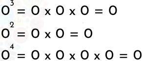 ejemplos de la potencia de base cero